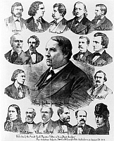 0186672 © Granger - Historical Picture ArchiveBEECHER-TILTON SCANDAL.   'Celebrities of the great trial 'Theodore Tilton vs. Henry Ward Beecher.' The verbatim report.' Lithograph by Ed. W. Welcke & Bro., c1875.