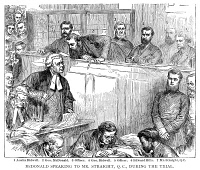 0058509 © Granger - Historical Picture ArchiveGEORGE BIDWELL (c1837-1899).   American confidence man. The trial of George and Austin Bidwell, George MacDonald, and Edwin Noyes Hills for forgery at the Central Criminal Court in Old Bailey, London, England, August 1873.