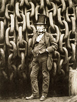 0066786 © Granger - Historical Picture ArchiveISAMBARD KINGDOM BRUNEL   (1806-1859). English engineer. Brunel before the Great Eastern steamship's braking drum chains, which lowered the ship from the slip for launching. Photograph, 1857, by Robert Howlett.