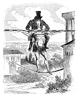 0267470 © Granger - Historical Picture ArchivePRINCE OTTO von BISMARCK   (1815-1898). Prince Otto von Bismarck-Schonhausen. Prussian statesman. Cartoon depicting Bismarck as an acrobat carrying a spectre of constitutional conflict after rejecting the budget established by the Diet, 1865.