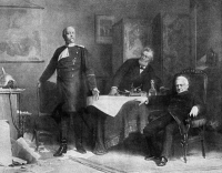 0370835 © Granger - Historical Picture ArchivePRINCE OTTO von BISMARCK   (1815-1898). Prince Otto von Bismarck-Schonhausen. Prussian statesman. Bismarck with Jules Favre and Adolphe Thiers (seated), signing the Treaty of Versailles, 1871. Contemporary painting by Karl Wagner.