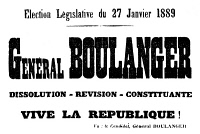 0058635 © Granger - Historical Picture ArchiveGEORGES BOULANGER   (1837-1891). Georges Ernest Jean Marie Boulanger. French general. Election advertisement from a Paris newspaper published the day before Boulanger's election as a deputy for the Seine division of Paris by a huge majority in 1889.