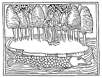 0322546 © Granger - Historical Picture ArchiveST. BRENDAN (484-577).   Irish monk and traveler. Saint Brendan on the fish island. Woodcut, German, c1476.