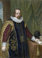 0010929 © Granger - Historical Picture ArchiveFRANCIS BACON (1561-1626).   Viscount St. Albans. English philosopher, statesman, and author. Line engraving after a painting from the studio of Paul Van Somer.