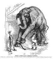 0049835 © Granger - Historical Picture ArchivePHINEAS TAYLOR BARNUM   (1810-1891). American showman. American cartoon, 1882, by Thomas Nast, commenting on the outcry of public indignation in Great Britain following P.T. Barnum's purchase of Jumbo the elpehant from the London Zoo.