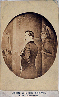 0066059 © Granger - Historical Picture ArchiveJOHN WILKES BOOTH   (1838-1865). American actor and assassin of President Abraham Lincoln. Booth at Ford's Theatre, under the influence of Satan. Gravure, c1865.
