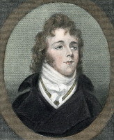 0028762 © Granger - Historical Picture ArchiveGEORGE BRUMMELL (1778-1840).   Known as Beau Brummell: colored engraving after a miniature.