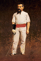 0022956 © Granger - Historical Picture ArchiveRICHARD BURTON (1821-1890).   Sir Richard Francis Burton. British explorer and Orientalist. At about age 30, in fencing dress. Oil on panel, c1883, by Albert Letchford.