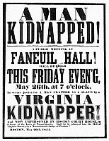 0037437 © Granger - Historical Picture ArchiveANTHONY BURNS (1834-1862).   American slave. A Boston poster of 26 May 1854 announcing a public meeting to discuss the arrest of Burns on 24 May and his forthcoming trial under the Fugitive Slave Law.
