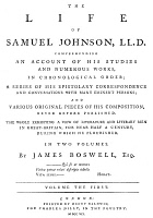 0058628 © Granger - Historical Picture ArchiveJAMES BOSWELL (1740-1795).   Scottish lawyer and writer. Title page of the first edition of the first volume of James Boswell's 'Life of Samuel Johnson,' London, 1791.