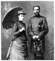 0370380 © Granger - Historical Picture ArchivePRINCE LOUIS OF BATTENBERG   (1854-1921). English (German-born) naval officer, First Sea Lord, 1912-14. The Prince and his fiancee, Princess Victoria of Hesse and by Rhine (1863-1950). Engraving, English, 1884.