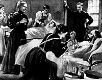 0106562 © Granger - Historical Picture ArchiveCLARA BARTON (1821-1912).   Clara Barton, founder and president of the American Red Cross. Barton supervising nurses at a hospital in Havana during the Spanish-American War, 1898. American lithograph.