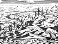 0029939 © Granger - Historical Picture ArchiveWILLEM BARENTS (c1550-1597).   Dutch navigator. Barents and his men battling ice floes and polar bears in the artic. Line engraving from Gerrit de Veer's 'The Voyages of Willem Barents to the Arctic Regions,' 1598.