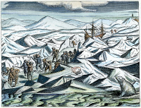 0041494 © Granger - Historical Picture ArchiveWILLEM BARENTS   (c1550-1597). Willem Barents and his men battling ice floes and polar bears in the arctic: contemporary engraving.