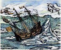 0121516 © Granger - Historical Picture ArchiveWILLEM BARENTS (c1550-1597).   Dutch navigator. A ship lifted by pressure ice during Willem Barents' last voyage. Line engraving, 1598.