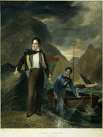 0011300 © Granger - Historical Picture ArchiveGEORGE GORDON BYRON   (1788-1824). Sixth Baron Byron. English poet. At the age of 19. Steel engraving, English, 1830, after a painting by George Sanders.