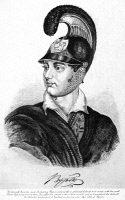 0043256 © Granger - Historical Picture ArchiveGEORGE GORDON BYRON   (1788-1824). 6th baron Byron. English poet. Lord Byron wearing a Greek helmet. Etching, 19th century.