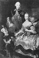 0006138 © Granger - Historical Picture ArchiveCATHERINE II (1729-1796).   Empress of Russia, 1762-1796. The future Catherine the Great with the Grand Duke Peter, and their son Paul. Oil on canvas, 1756, by R.M. Lisiewska.