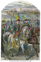 0041519 © Granger - Historical Picture ArchiveCATHERINE THE GREAT   (1729-1796) at the head of her army: wood engraving, English, 19th century.