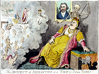 0076678 © Granger - Historical Picture ArchiveCATHERINE II (1729-1796).  'The Moment of Reflection or a Tale for Future Times': a terrified, cloven-hoofed Catherine the Great views atrocities committed during her reign as the Grim Reaper prepares to dispatch her with a spear. An equally frightened portrait of English statesman Charles Fox views the scene: colored etching by Issac Cruikshank, 1796.