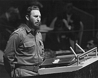 0013044 © Granger - Historical Picture ArchiveFIDEL CASTRO (1926-2016).   Cuban revolutionary leader. Addressing the General Assembly of the United Nations in New York City. Photograph, 1960.