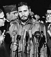 0125591 © Granger - Historical Picture ArchiveFIDEL CASTRO (1926-2016).   Cuban revolutionary leader. Arriving at the Military Air Transport Service terminal in Washington, D.C., 15 April 1959. Photographed by Warren K. Leffler.