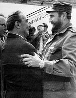 0170052 © Granger - Historical Picture ArchiveFIDEL CASTRO (1926-2016).   Cuban revolutionary leader. Castro (right) is greeted by Communist Party General Secretary Leonid Brezhnev upon his arrival at Moscow's Vnukovo Airport, 26 June 1972.