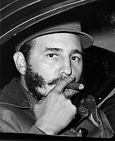 0170053 © Granger - Historical Picture ArchiveFIDEL CASTRO (1926-2016).   Cuban revolutionary leader and head of state. Castro smoking a cigar on his way to give a speech at Princeton University in New Jersey, 1959.