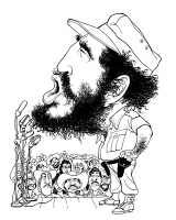 0527709 © Granger - Historical Picture ArchiveFIDEL CASTRO (1926-2016).   Cuban revolutionary leader. Caricature by Edmund Valtman, c1970.