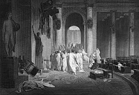 0002982 © Granger - Historical Picture ArchiveJULIUS CAESAR (100 B.C.-44 B.C.).   Roman general and statesman. The assassination of Julius Caesar in the Roman Senate on 15 March 44 B.C. Steel engraving, 1869, after the painting by Jean Leon Gerome.