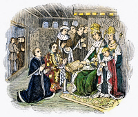 0088739 © Granger - Historical Picture ArchiveCAXTON AND WOODVILLE, 1477.   Anthony Woodville, 2nd Earl Rivers, presenting his book and its printer, William Caxton, to King Edward IV of England in 1477. Wood engraving, 19th century, after a contemporary manuscript illumination.