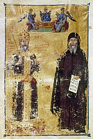 0115802 © Granger - Historical Picture ArchiveJOHN VI CANTACUZENUS   (1292-1383). Byzantine emperor, 1341-1351. John VI as emperor and as monk. Illumination from a Byzantine manuscript.