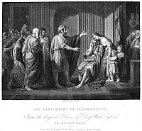 0084551 © Granger - Historical Picture ArchiveCLEOMBROTUS II.   King of Sparta, c243-c240 B.C. The Banishment of Cleombrotus by Leonidas II, c240 B.C. Steel engraving, English, 19th century, after the painting, 1768, by Benjamin West.