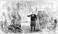 0268114 © Granger - Historical Picture ArchiveCHARLES BRADLAUGH   (1833-1891). English reformer. Bradlaugh denied entrance to the House of Commons after refusing to take the religious Oath of Allegiance, 1880. Contemporary English engraving.