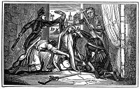 0045169 © Granger - Historical Picture ArchiveGASPARD de COLIGNY   (1519-1572). French admiral and Huguenot leader. The murder of Coligny in his bedroom, the first victim of the St. Bartholomew's Day Massacre, 24 August 1572. Wood engraving, 19th century.