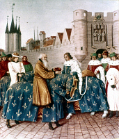0021151 © Granger - Historical Picture ArchiveKING CHARLES V OF FRANCE.   King Charles V of France receives Holy Roman Emperor Charles IV in Paris. French manuscript illumination, 14th century.