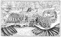 0066154 © Granger - Historical Picture ArchiveSAMUEL DE CHAMPLAIN   (center), with two French harquebusiers (top) and friendly Algonquins (left) defeat an Iroquois war party at the present site of Ticonderoga on Lake Champlain, 29 July 1609. Line engraving from Champlain's 'Voyages' (1613).