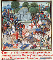 0043996 © Granger - Historical Picture ArchiveCHARLEMAGNE (742-814).   King of the Franks, 768-814, and Emperor of the West, 800-814. Charlemagne and his army in battle with Neapolitan forces. French manuscript illumination, 15th century.