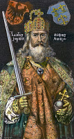 0076221 © Granger - Historical Picture ArchiveCHARLEMAGNE (742-814).   King of the Franks, 768-814, and Emperor of the West, 800-814. Wood engraving, German, 19th century, after a painting, c1512, by Albrecht Durer.