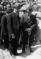 0109937 © Granger - Historical Picture ArchiveWINSTON CHURCHILL   (1874-1965). Sir Winston Leonard Spencer Churchill. English statesman and writer. Photographed with Sir Herbert Samuel at a tree planting ceremony at the Hebrew University, Mount Scopus, Jerusalem.