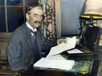 0087862 © Granger - Historical Picture ArchiveNEVILLE CHAMBERLAIN   (1869-1940). English statesman. As Chancellor of the Exchequer. Oil over a photograph, c1935.