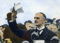 0087863 © Granger - Historical Picture ArchiveNEVILLE CHAMBERLAIN   (1869-1940). English statesman. Prime Minister Chamberlain, upon his return to England on 30 September 1938, holding aloft the Munich Agreement bearing his own and German Chancellor Adolf Hitler's signatures. Oil over a photograph.