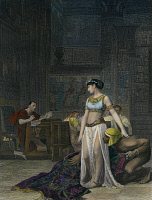 0008211 © Granger - Historical Picture ArchiveCLEOPATRA VII (69-30 B.C.).   Last Macedonian queen of Egypt. Cleopatra before Julius Caesar (100-44 B.C.). Steel engraving, 19th century, after the painting by Jean Leon Gerome.