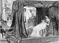 0266785 © Granger - Historical Picture ArchiveANTONY & CLEOPATRA.   Meeting on the River Cygnus. Engraving, 1887, after a painting by Lawrence Alma-Tadema.