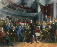 0011284 © Granger - Historical Picture ArchiveHENRY CLAY, 1850.   Henry Clay offering his California Compromise to the Senate on 5 February 1850. Contemporary engraving after the painting by Peter Frederick Rothermel.