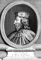 0016990 © Granger - Historical Picture ArchiveCLOVIS (466?-511).   King of the Salian Franks, 481-511. Copper engraving, French, 18th century.