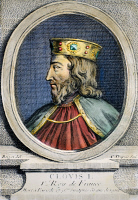 0084831 © Granger - Historical Picture ArchiveCLOVIS (c466-511).   King of the Salian Franks, 481-511. Copper engraving, French, 18th century.