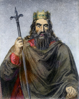 0084832 © Granger - Historical Picture ArchiveCLOVIS (c466-511).   King of the Salian Franks, 481-511. Steel engraving, French, 19th century.