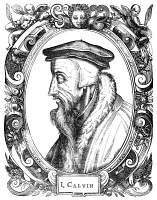 0005810 © Granger - Historical Picture ArchiveJOHN CALVIN (1509-1564).   French thelogian and reformer. Woodcut, Swiss, 1581.