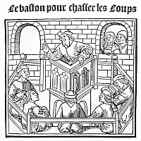 0006757 © Granger - Historical Picture ArchiveJOHN CALVIN (1509-1564).   French theologian and reformer. Calvin preaching against wolves and robbers to his congregation in Geneva: contemporary woodcut.